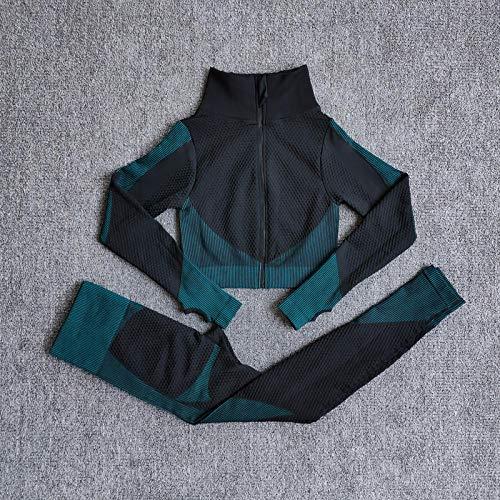 ZOUYU Conjuntos de yoga sin costuras Mujer Fitness Ropa de gimnasio Camisas de manga larga Leggings de cintura alta Pantalones de entrenamiento Trajes deportivos-DarkGreen_XL