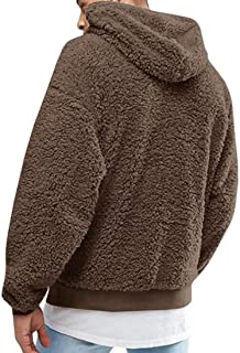 Mens Fuzzy Sherpa Pullover Hoodie Long Sleeve Sweatshirt with Pocket