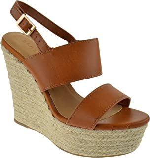 BAMBOO Charade 24 M Womens Wrap Around Fabric Lace Wedge Platform Sandals