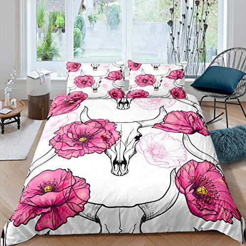 Juego de ropa de cama con diseño de calavera de toro bohemio, juego de funda de edredón para niños, niñas y mujeres, diseño de flores silvestres, colección de 2 piezas, tamaño individual