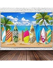 Surfboard Party Decorations Beach Backdrop Party Beach Surfboard Backdrop Party Banner Tropical Hawaiian Party Backdrop Banner for Beach Weddings Party Decorations, 180cm x 110cm