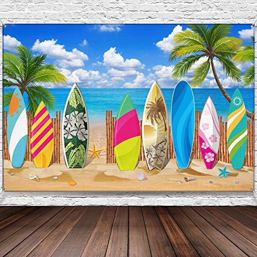 Decoraciones de Fiestas de Tablas de Surf Pancartas de Playa/ Surfboard Fondo Tropical Banner para Hawaiian Banner para Bodas en la Playa, 72,8 x 43,3 Pulgadas