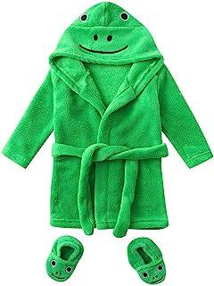 KAIXLIONLY Infant Boys Girls Cartoon Flannel Bathrobes Sleepwear+Footwear Outfits Unisex Baby Duck Animal Robe