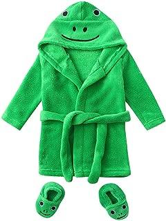 KASSD Infant Boys Girls Cartoon Duck Frog Print Flannel Bathrobes, Hoodie Sleepwear+Footwear Outfits, 0-12 Months (0-6 Months, Green-Frog)