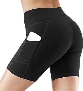 ACWOO Yoga Shorts voor Dames, Hoge Taille Running Shorts voor Vrouwen, Korte Sportbroek met zakken, Tummy Control Workout ...