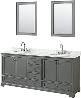 Wyndham Collection Deborah 80 inch Double Bathroom Vanity in Dark Gray, White Carrara Marble Countertop, Undermount Square Sinks, and 24 inch Mirrors