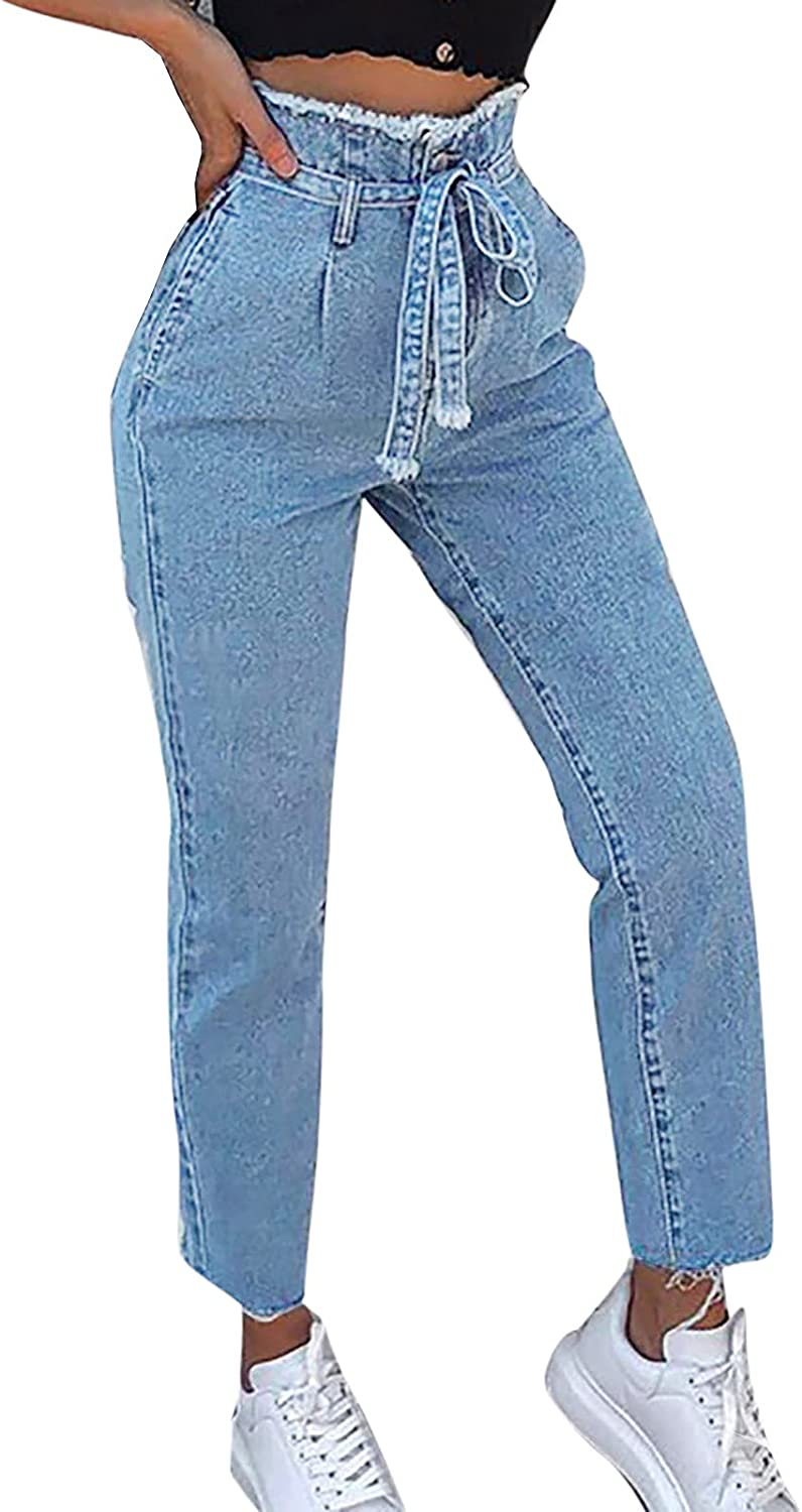 Women's Mom Jeans Elastic Waisted Boyfriend Straight Denim Pants Classic Relaxed Fit Y2k Distressed Jean Pants