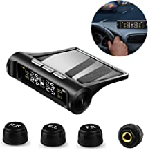VSTM Tire Pressure Monitoring System TPMS,Solar Power Universal Wireless Car Alarm System with 4 External Sensors,6 Alarm Modes,LCD Real-time Display Pressure & Temperature Alerts Ensure Safe Driving