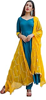Monika Silk Mill Women's Turquoise Cotton Silk Embroidered Semi Sititched Salwar Suit with Contrast embroidered Dupatta