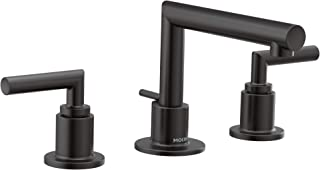 Moen TS43002BL Arris Two-Handle Modern 8 in. Widespread Bathroom Faucet Trim Kit, Valve Required, Matte Black