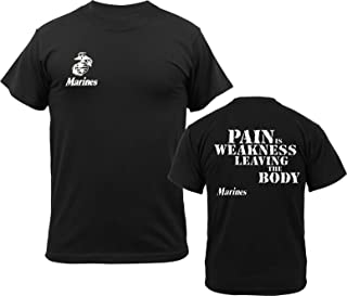 Army Universe Black USMC Logo US Marines Pain is Weakness, Leaving The Body Double Sided T-Shirt Pin