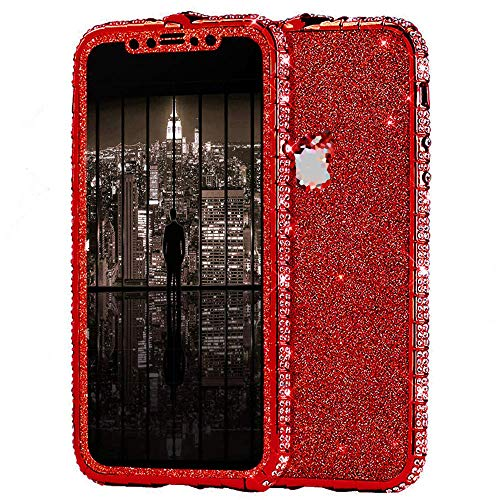 Surakey Kompatibel mit iPhone X Hülle Glitzer Glänzend Kristall Bling Handyhülle Glitzer Strass Diamant Metall Bumper Case Vorne Hinten Glitzerfolie Skin Schutzhülle Tasche für iPhone X,Rot