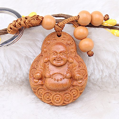 Chinese Laughing Buddha Keychain Peach Wooden Carving Key Chain Key Ring for Cars Bags Decoration for Good Luck (Laughing Buddha)