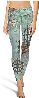 Women's Anchor Print Floral Pattern Printed High Waist Tummy Control Yoga Pants