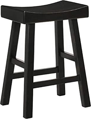 Winsome Wood 24 Inch Saddle Seat Counter Stool Black Amazon Ca Home Kitchen