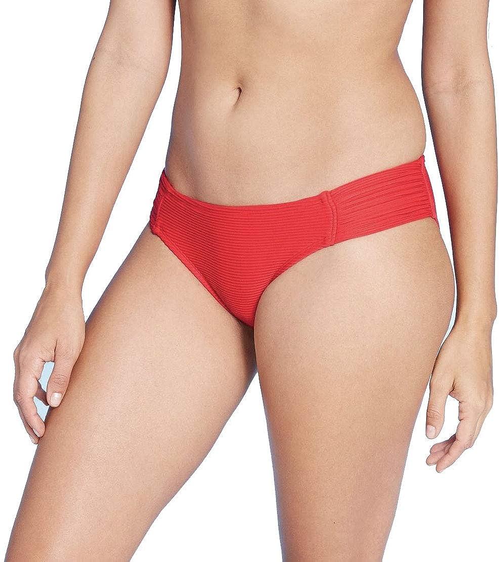 Kona Sol Women's Medium Coverage Tab Hipster Bikini Bottom Burgundy