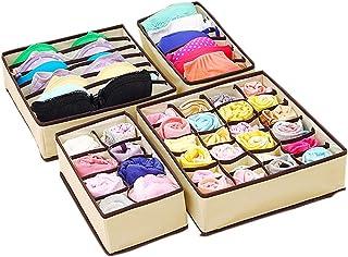 DIKARIYA Lot de 4 boîtes de rangement pour chaussettes, penderie, soutien-gorge, système de rangement pour tiroirs, boîte ...