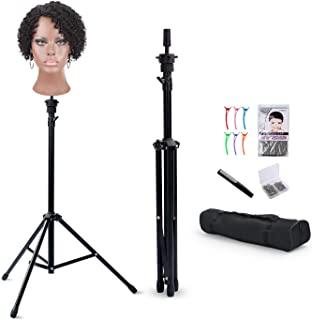 Reinforced Hair Extension Wig Stand Tripod Mannequin Head Stand, Adjustable Wig Head Stand Holder for Cosmetology Hairdressing Training with T-with Wig Caps, T-Pins, Comb, Hair Clip, Carrying Bag