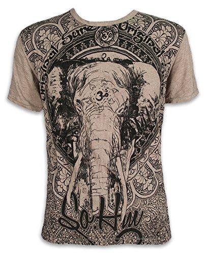 Sure Herren T-Shirt Ganesha OM Symbol Elefanten-Gott Indien Hinduismus Religion Goa (Khaki Braun L)