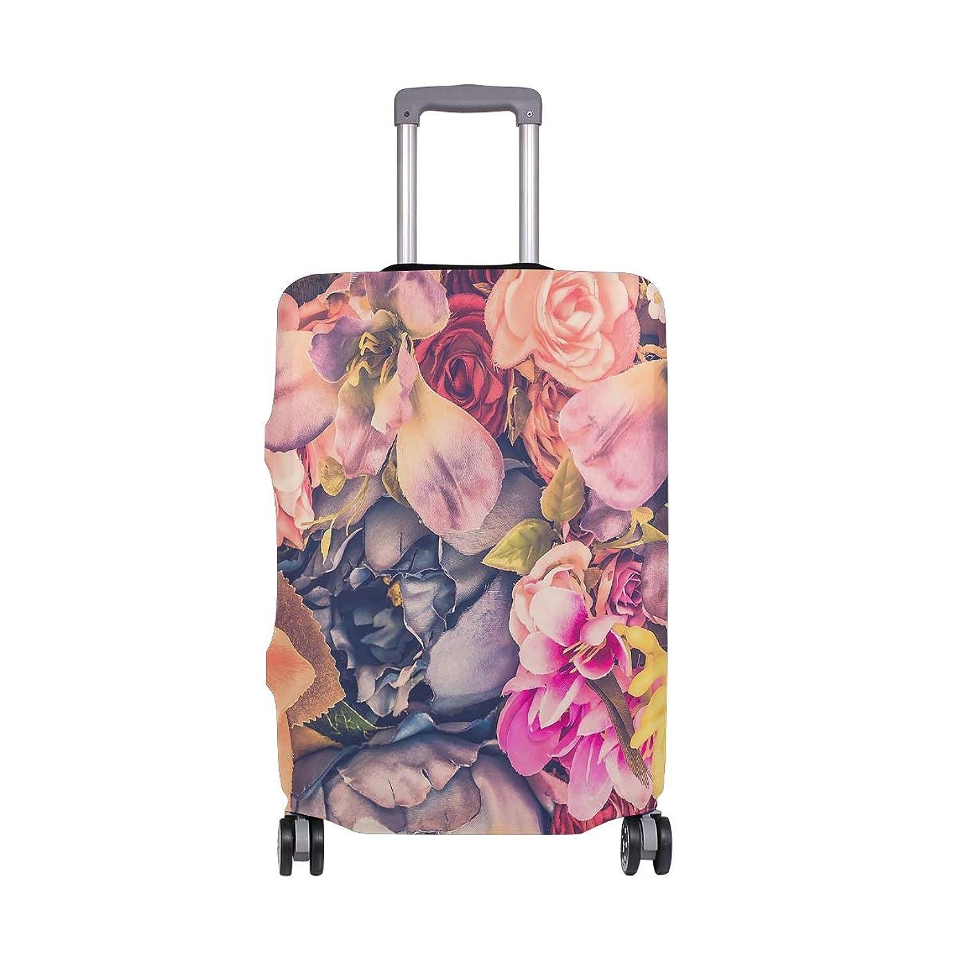 毛皮魅力的であることへのアピールグッゲンハイム美術館ビンテージローズ スーツケースカバー 弾性素材 おしゃれ トラベルダストカバー 傷防止 防塵カバー 洗える 18-32インチの荷物にフィット