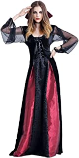 Tsmile Women's Vampire Gothic Dress Vintage Mesh Long Sleeve Lace Up Halloween Cosplay Front Slit Witch Long Dress