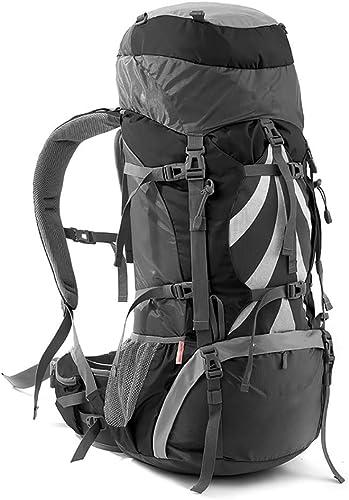 LXMBox Sac à Dos De Randonnée 70L Sac à Dos De Trekking pour Hommes Femmes Alpinisme Voyage en Plein Air Imperméable Grand Capacité Sac D'ordinateur Portable pour Escalade Camping Chasse Ski,gris