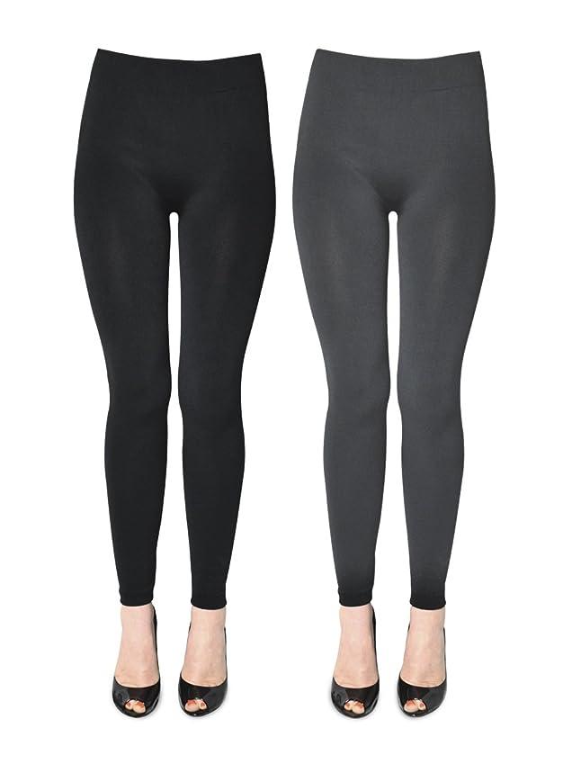 K. Bell Women's 2 Pack Soft and Warm Fleece Lined Leggings