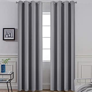 Yakamok Room Darkening Blackout Curtains Thermal Insulated Solid Grommet Top Blackout Curtains 2 tie Backs Bedroom, 2 Pane...