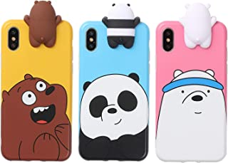 AiKeDuo for 3D Cartoon Animals Cute We Bare Bears Soft Silicone Case Cover Skin 3pcs Sell for iPhone6/ 6s/6s Plus iPhone7 /7plus case (iPhone XR)