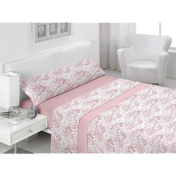 Basic Home Juego de sábanas 3 Piezas 100% algodón Amsi Rosa Cama ...