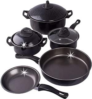 8 pc Carbon Steel Pans & Pots Set - Kitchen Pasta Pot With Strainer Lid, Frying Pans, Pots - Carbon Steel Cookware Set (Black)