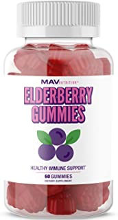 MAV Nutrition Elderberry Gummies 150mg with Vitamin C & Zinc for Healthy Immune Support – Designed for Ultimate Health & Wellness, NO Gluten, Non-GMO, Natural Flavors, 60 Gummies (Adult)