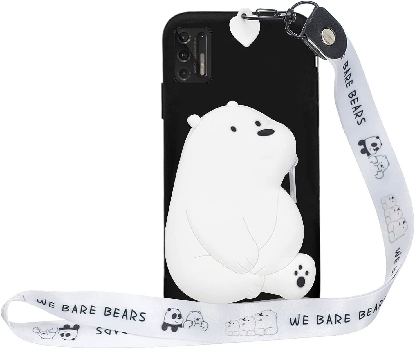 Shinyzone Wallet Case for Moto G Play 2021,3D Cute Cartoon Silicone White Bear Fun Cool Design for Kids Girl Women with Lanyard Neck Strap Card Pocket Zipper Pures Cover