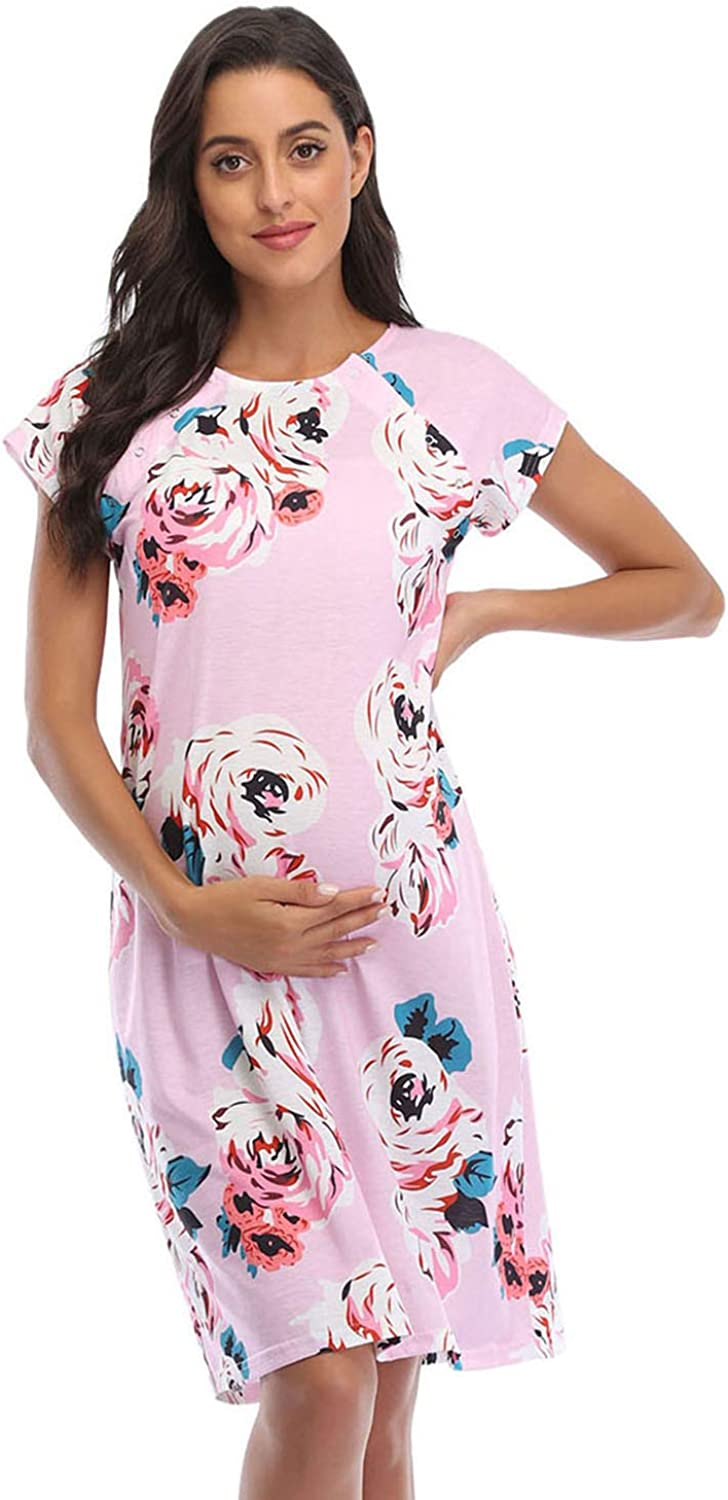 Soanhoo Womens Nursing//Delivery//Labor//Hospital Nightdress Maternity Nightgown with The Matching Pillowcase