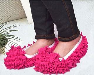 Sungpunet Multifunction Mop Shoe Cover Dusting Floor Cleaning Slipper Housekeeper-Red(1 Pair)