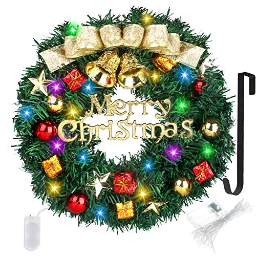 Christmas Wreath 16 Inch Artificial Christmas Hanging Wreath With Battery Operated String Lights for Front Door, With Wreath Hanger Christmas Decorations Wreath Suitable for Indoor Outdoor Decor