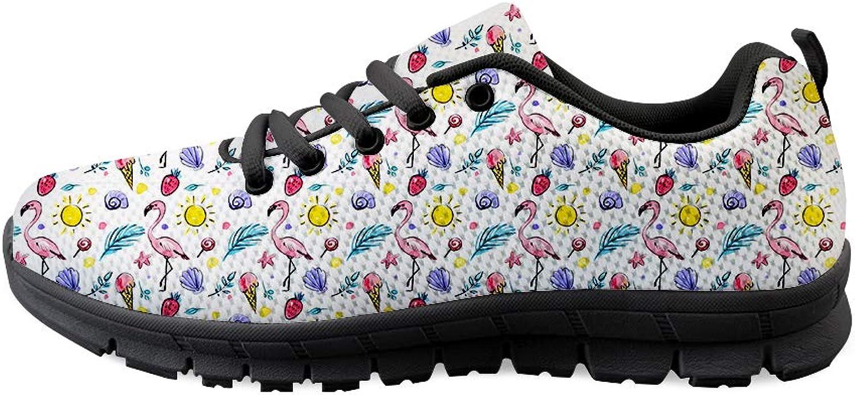 Owaheson Lace-up Sneaker Training shoes Mens Womens Flamingo Strawberry Starfish Sunbathing