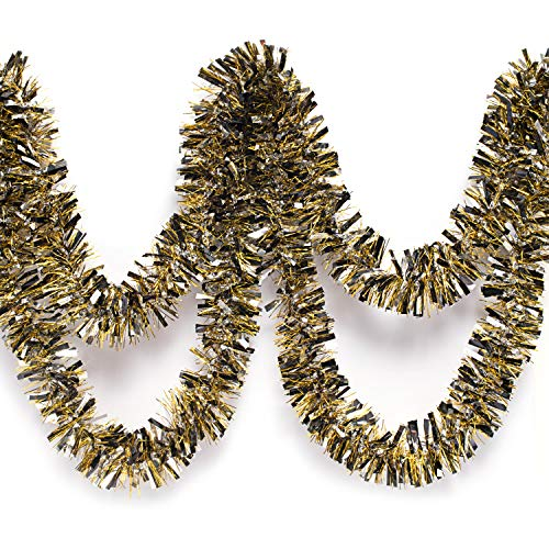 Anderson's Black, Silver, and Gold Metallic Tinsel Twist Garland 4 inches Wide x 25 ft Long