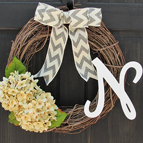 Year Round Initial Wreath for All Season Front Door Decoration; Personalized Monogram Letter and Bow Color Choice; Artificial Cream Hydrangeas