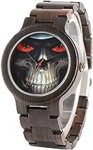 ZJQQS Houten horloge Cool Skull Horloges voor Mann...