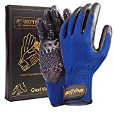 Pet Grooming Glove for Dogs Cats Horses Rabbits | 2 in 1: Efficient Deshedding Hair Brush for Short to Medium Fur and Gentle Massage Tool | Grooming Kit Comes in Pair (for Left and Right Hand)