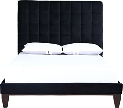 Iconic Home Beethoven Bed Frame with Headboard Velvet Upholstered Button Tufted Tapered Birch Legs Modern Transitional, Queen, Black