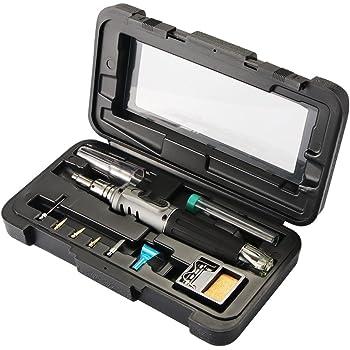 ONEVER Fer à souder au butane - Fer à souder à gaz 10 en 1 Kit Auto-allumage professionnel Polyvalent pour réparation Fabrication de bijoux Modèle de brasage Cartes de circuit imprimé