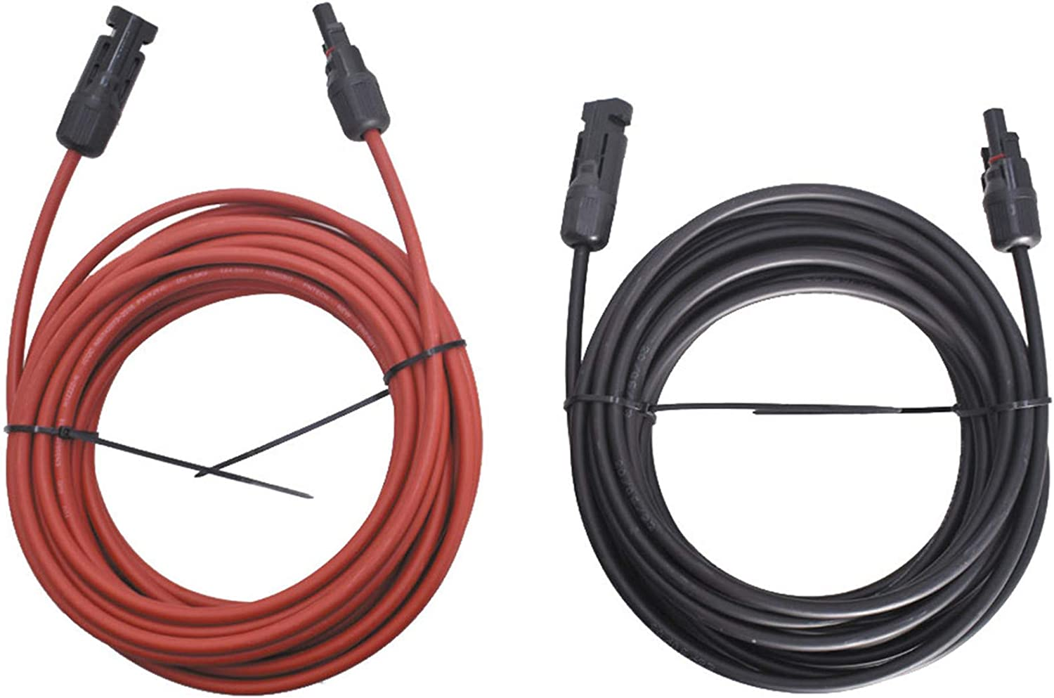 WFLNHB 30FT 12AWG Black Long Beach Mall service + Red Gauge Panel Solar Extension Cab 12