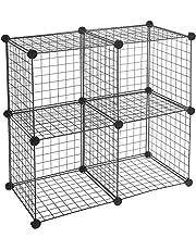 Amazon Basics - Estantes de almacenamiento, Cuatro cubos, de alambre - Negro