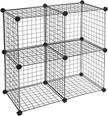 4-pack of interlocking wire storage cubes for neat storage and tidy display (each cube measure 14x14x14) Includes 20 plastic corner connectors and 16 grid panels made of powder-coated steel wire; no tools required for set-up Modular design allows for...