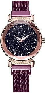 Watch,Becoler Fashion Starry Sky Mosaic Diamond Quartz Mesh Belt Magnetic Buckle Ladies Watch