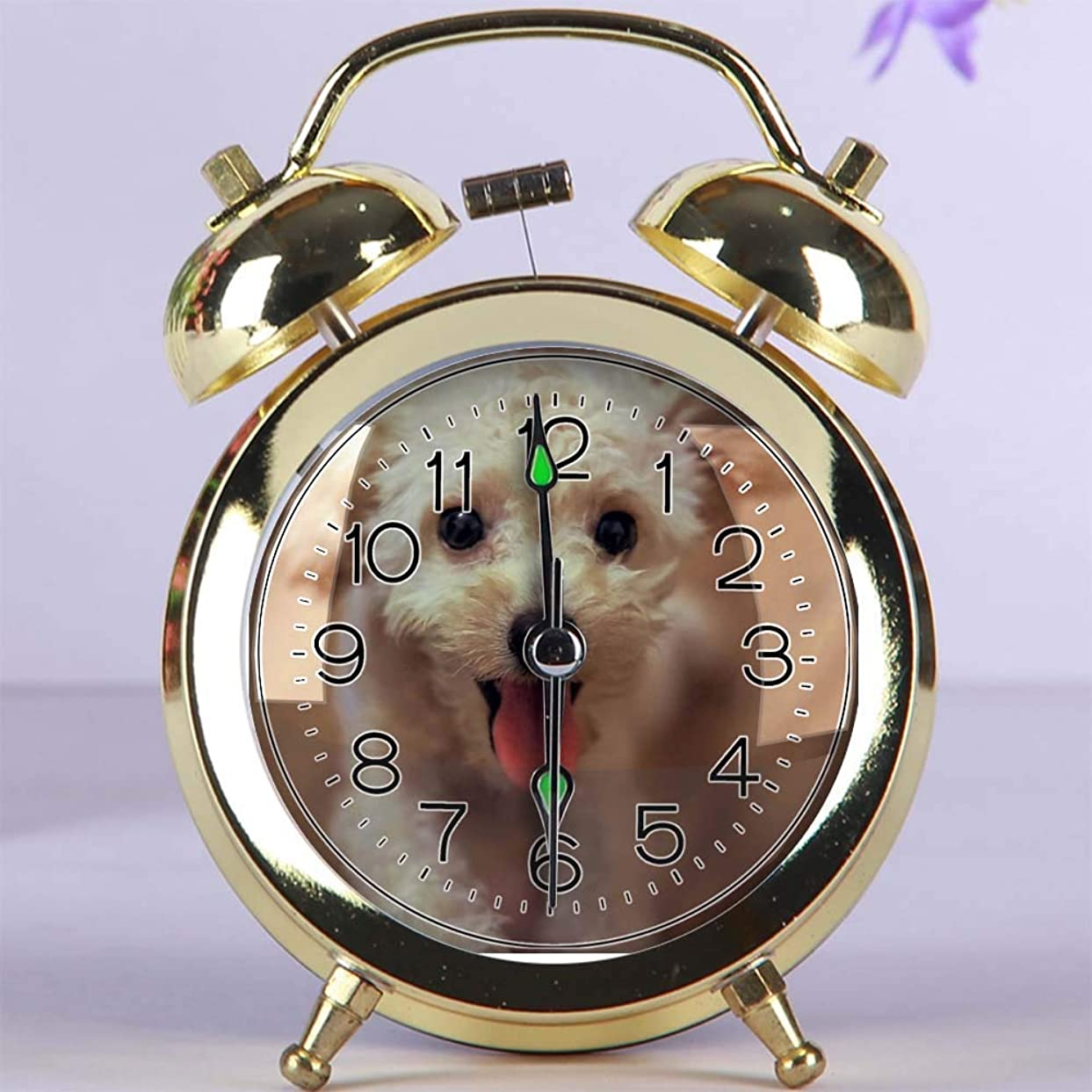 南アメリカタワー兵士かわいい色の目覚まし時計、夜ライト寝室の装飾が付いている円形の金属の机上時計 217. クリームトイプードル(ゴールド)