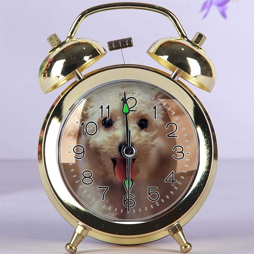 高める静的肺かわいい色の目覚まし時計、夜ライト寝室の装飾が付いている円形の金属の机上時計 217. クリームトイプードル(ゴールド)
