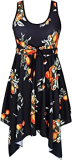 DANIFY Women's Slimming Tummy Control Swimdress Plus Size Swim Dress Retro Skirt Swimming Suit
